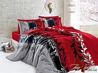 Качественный семейный комплект постельного белья из ранфорса R7085 red