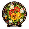 Тарелка расписнная вручную с подлаковой цветочной росписью
