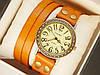 Мужские (Женские) кварцевые наручные часы Vikec на кожанном длинном ремешке