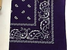 Хлопковая бандана (косынка) фиолетовая с рисунком