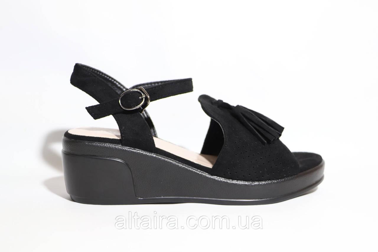 Жіночі літні, чорні босоніжки зі штучної замші. Розміри 36-41