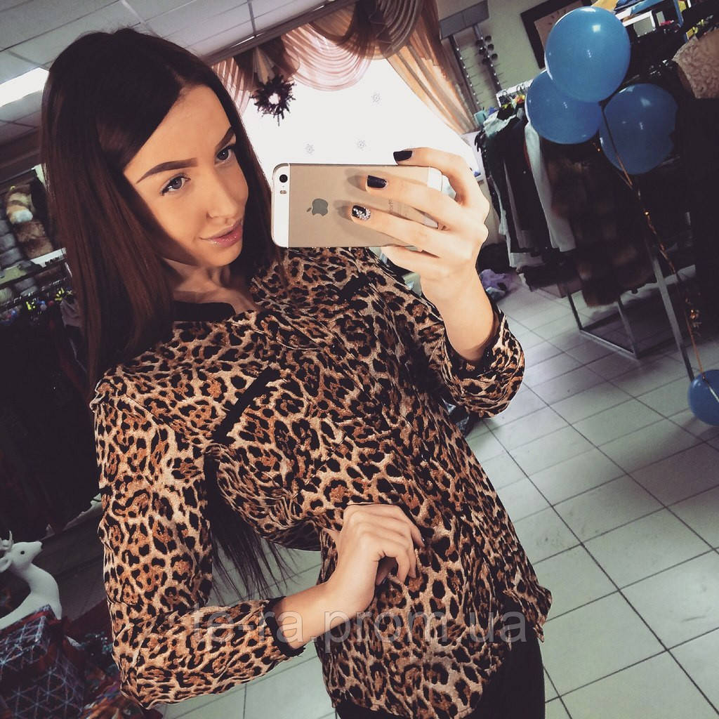 faf2e0f5cd0 Леопардовая рубашка с карманами - Интернет-магазин