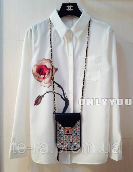 a6e656c2f45 Женская шифоновая рубашка с розой