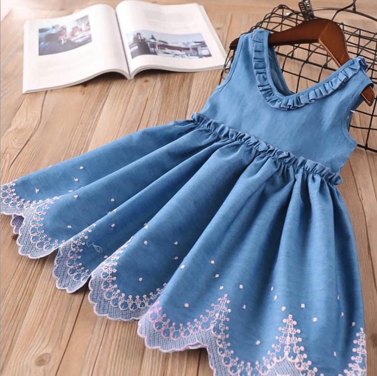 Летнее  платье  на девочку  синее с узором  2-6 лет