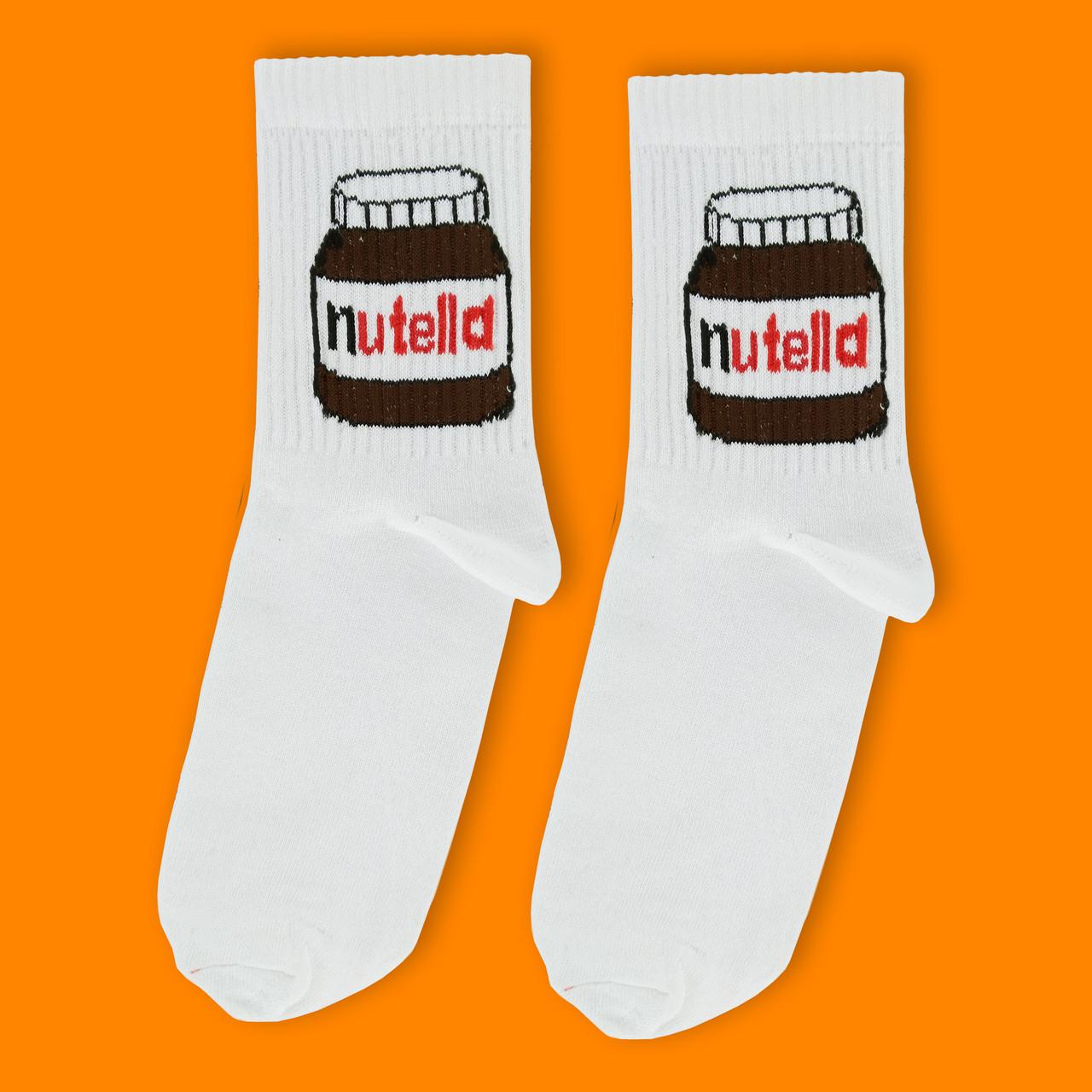"""Носки белые с принтом """"Нутелла"""""""