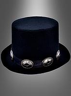 Черная шляпа-цилиндр для западных героев и рок-звезд