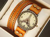 Мужские (Женские) кварцевые наручные часы Eiffel Tower на кожанном длинном ремешке, фото 1