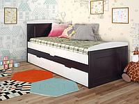 """Детская деревянная кровать """"Компакт"""" венге с дополнительным спальным местом. ТМ Арбор Древ."""