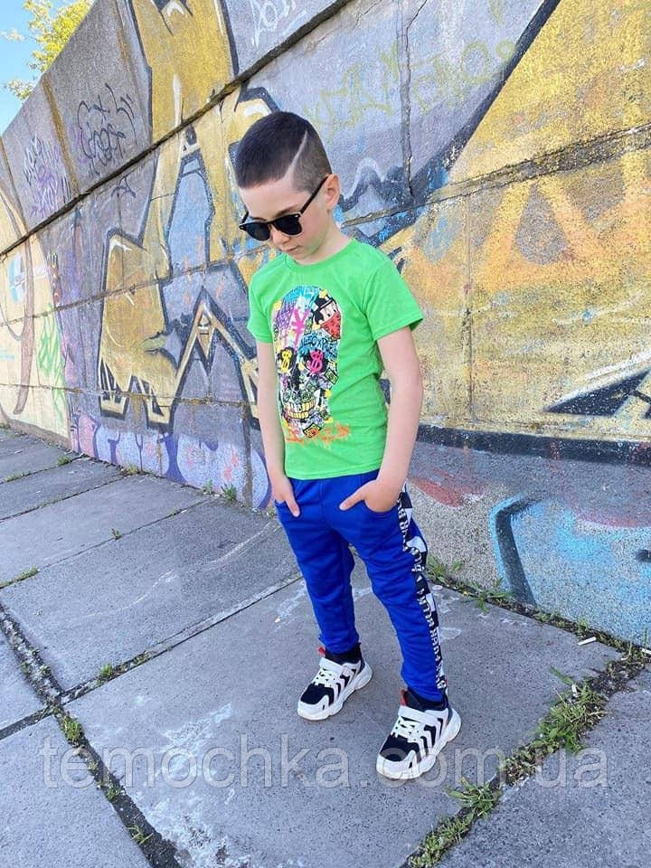 Летний комплект набор для мальчика с черепом футболка и штаны