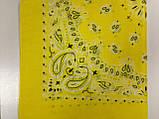 Річна бандана хустку з бавовни колір жовтий, бежевий 55 х 55 см, фото 3