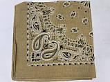 Летняя бандана платок из хлопка цвет желтый и бежевый 55 х 55 см, фото 4