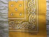 Річна бандана хустку з бавовни колір жовтий, бежевий 55 х 55 см, фото 5