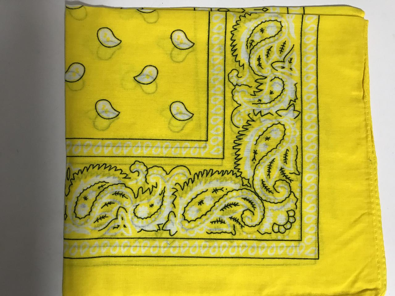 Летняя бандана платок из хлопка цвет желтый и бежевый 55 х 55 см