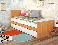 """Детская деревянная кровать """"Компакт"""" ольха с дополнительным спальным местом. ТМ Арбор Древ."""