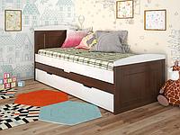 """Детская деревянная кровать """"Компакт"""" темный орех с дополнительным спальным местом. ТМ Арбор Древ."""