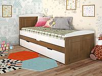 """Детская деревянная кровать """"Компакт"""" орех с дополнительным спальным местом. ТМ Арбор Древ."""