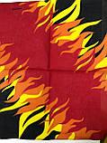 Хлопковая бандана (платок) рисунок пламя цвет красный, фото 2