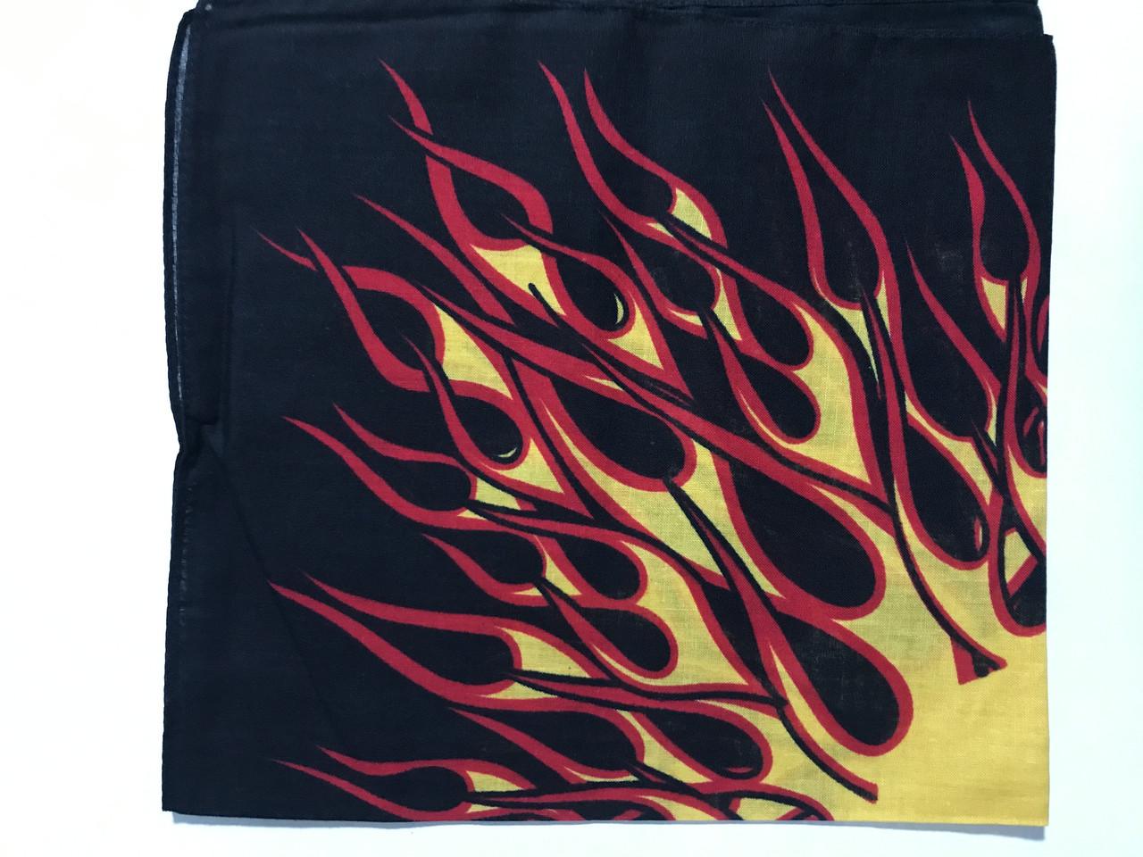 Хлопковая бандана (платок) рисунок пламя цвет красный