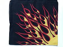 Хлопковая бандана (платок) рисунок пламя цвет красный с жёлтым