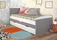 """Детская деревянная кровать """"Компакт"""" серый с дополнительным спальным местом. ТМ Арбор Древ."""