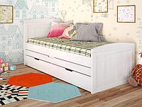 """Детская деревянная кровать """"Компакт"""" белый с дополнительным спальным местом. ТМ Арбор Древ."""