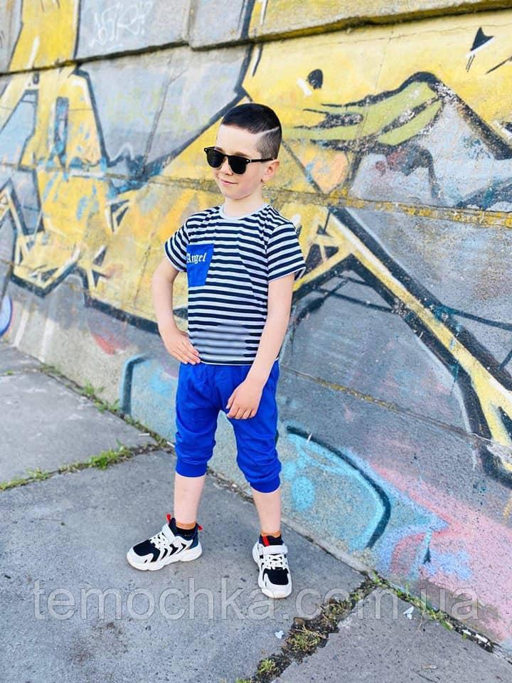 Синий летний комплект костюм для мальчика c шортами и футболкой