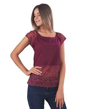 Хлопковая женская футболка с гипюром (размеры XS-2XL)