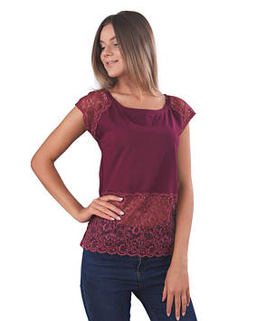 Жіноча футболка бавовняна з гіпюром (розміри XS-2XL)