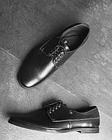 Чоловічі туфлі на шнурівці чорного кольору з натуральної шкіри, фото 1