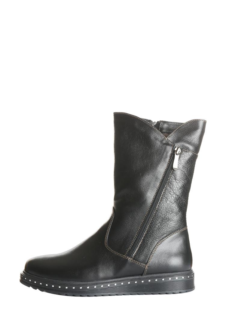 Коротенькі чорні зимові чоботи з натуральної шкіри на низькому ходу розміри 36-41