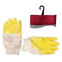 Перчатка стекольщика тканевая покрытая рифленым латексом на ладони желтая ящик 120 пар INTERTOOL SP-0002W