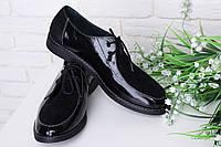 Кожаные черные туфли на шнуровке. Размер в наличии 35 36 37