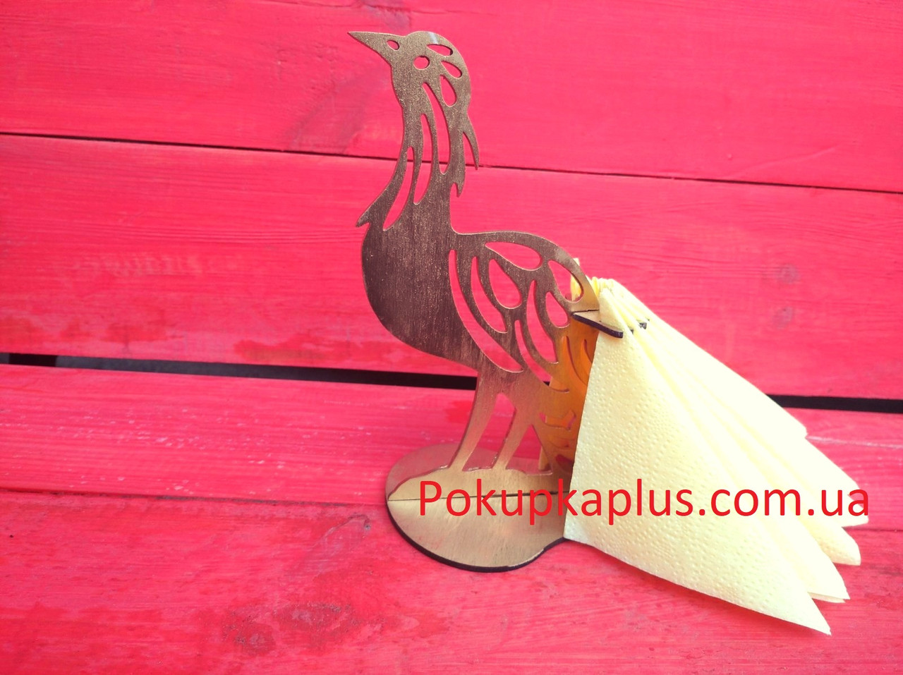 Салфетница Птица Золотая с блестками Р-144