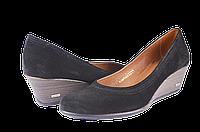 Женские туфли замшевые на танкетке salama 84440ч.вел черные   весенние , фото 1