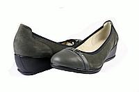 Женские туфли на танкетке mida 21317нуб.сер серые   весенние