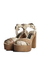 Кожаные женские босоножки на высоком каблуке .  Размер в наличии 38   39, фото 1