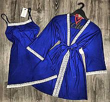 Домашний пижамный хлопковый комплект, пеньюар и халат, размер S