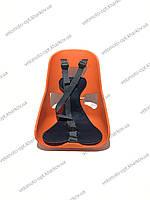 Велокресло детское, переднее легковесное Mini, прочный пластик, модный дизайн Оранжевый