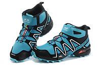 Кроссовки мужские Salomon Speedcross 3 высокие голубые