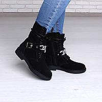Черные замшевые ботинки женские, фото 1