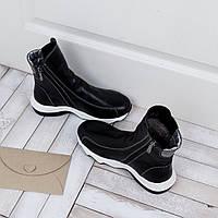 Кожаные женские ботинки зимние на овчине в черном цвете, фото 1
