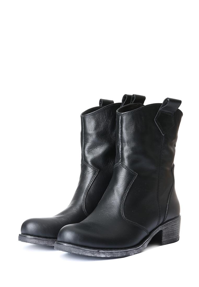 Кожаные женские сапожки демисезонные на квадратном каблуке 38-41