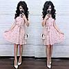 Льняное летнее платье - рубашка в мелкий принт, рукав короткий, юбка расклешенная 8mpl1176