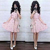 Льняное летнее платье - рубашка в мелкий принт, рукав короткий, юбка расклешенная 8mpl1176, фото 1