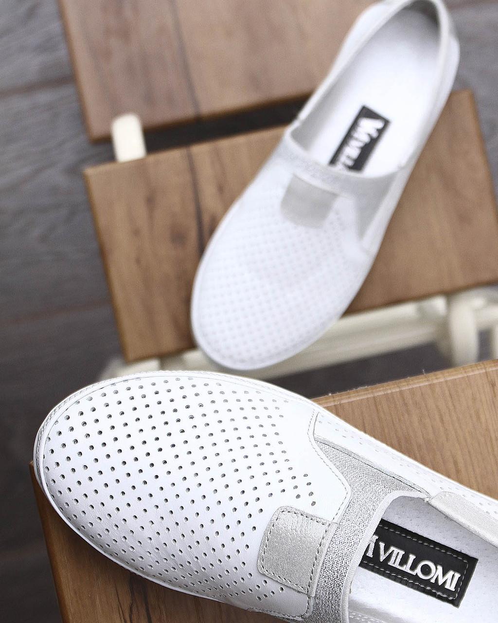 Белые женские туфли с перфорацией . Размер в наличии 36   37   39   40
