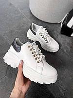 Белые кроссовки женские кожаные на толстой подошве. Размер в наличии 36 38 39 40