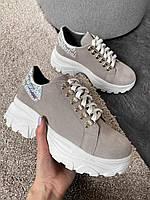 Серые женские кроссовки из натуральной замши 37, 38