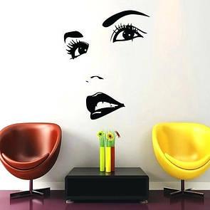 Наклейка на стену Красивое женское лицо (глаза, нос, губы, макияж, декор кабинета красоты, девушка, женщина)