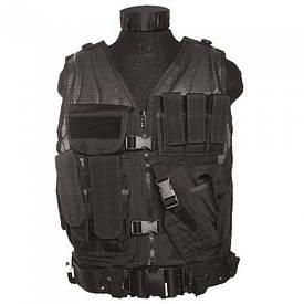 Жилет разгрузочный тактический с ремнем Mil-Tec USMC Combat Vest черный