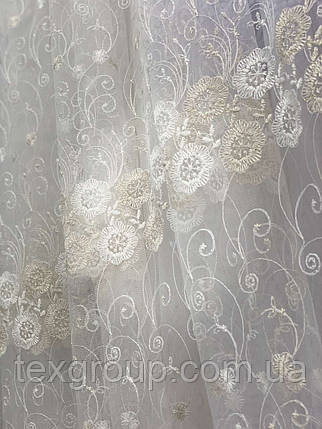 Фатиновая тюль с нежной вышивкой IST-0017, фото 2